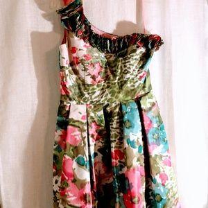 Eliza J Floral 1 Shoulder Dress - Sz 6